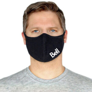 Black bamboo face mask with logo
